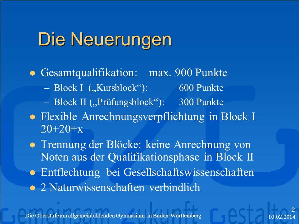 Die Neuerungen Gesamtqualifikation: max. 900 Punkte