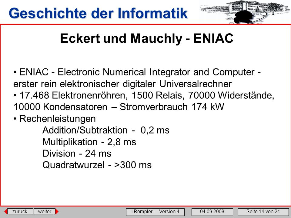 Eckert und Mauchly - ENIAC