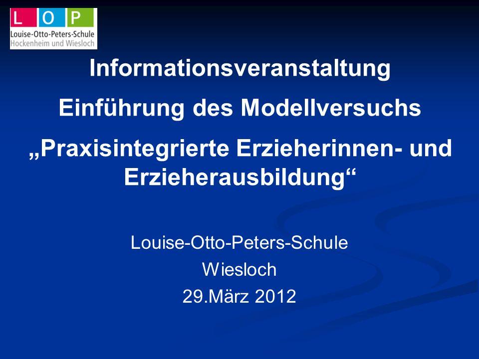 Informationsveranstaltung Einführung des Modellversuchs