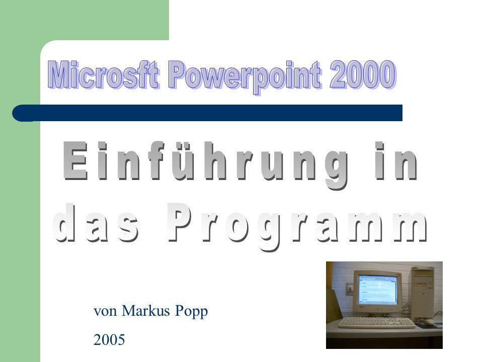 Microsft Powerpoint 2000 Einführung in das Programm von Markus Popp