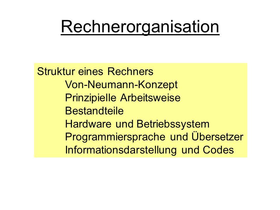 Rechnerorganisation Struktur eines Rechners Von-Neumann-Konzept