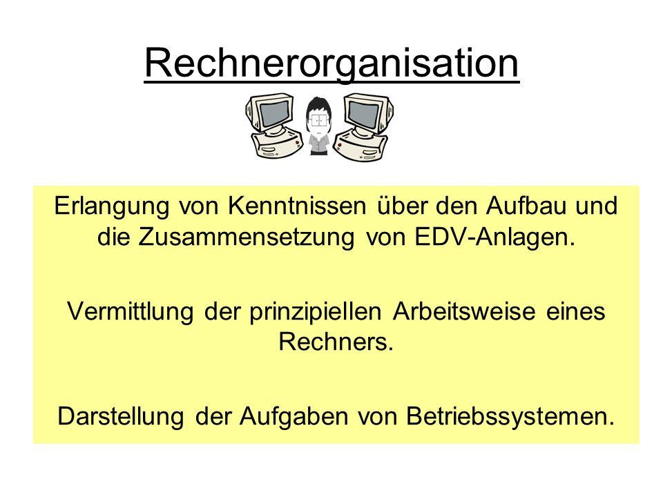 Rechnerorganisation Erlangung von Kenntnissen über den Aufbau und die Zusammensetzung von EDV-Anlagen.