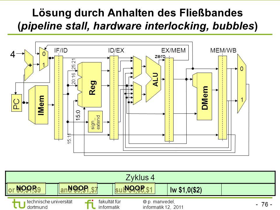 Lösung durch Anhalten des Fließbandes (pipeline stall, hardware interlocking, bubbles)