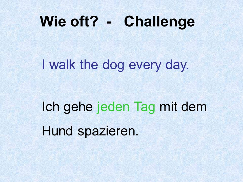 Wie oft - Challenge I walk the dog every day.