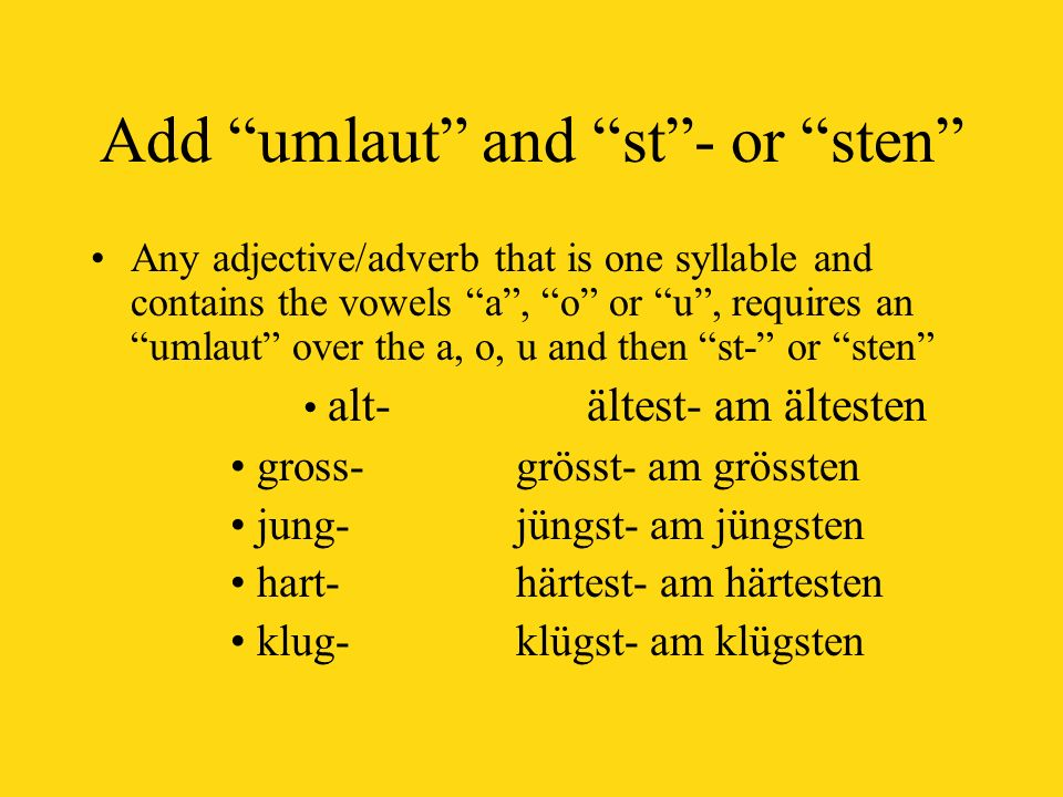Add umlaut and st - or sten