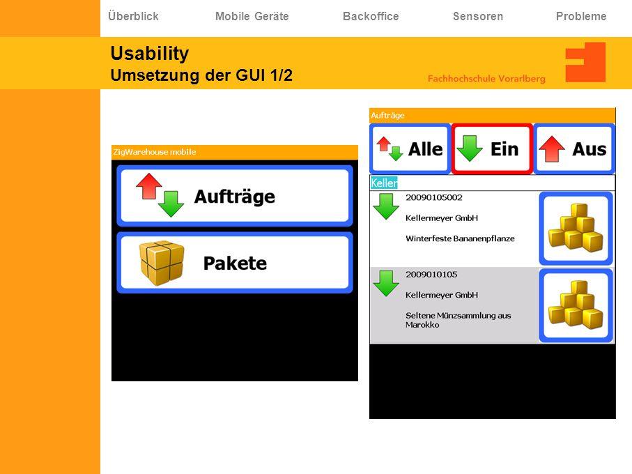 Usability Umsetzung der GUI 1/2