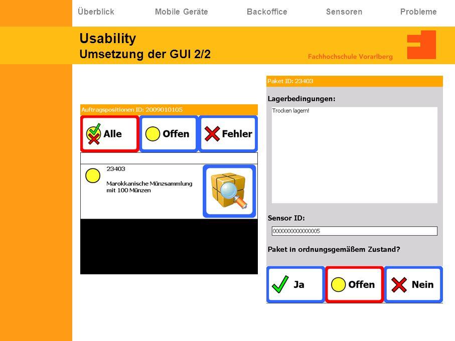 Usability Umsetzung der GUI 2/2