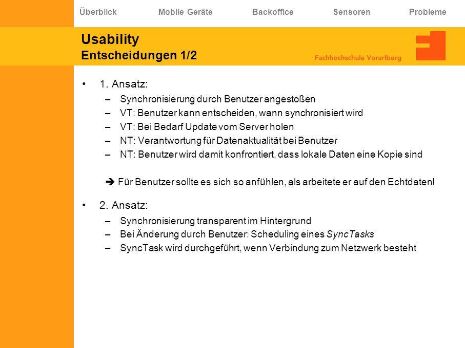 Usability Entscheidungen 1/2