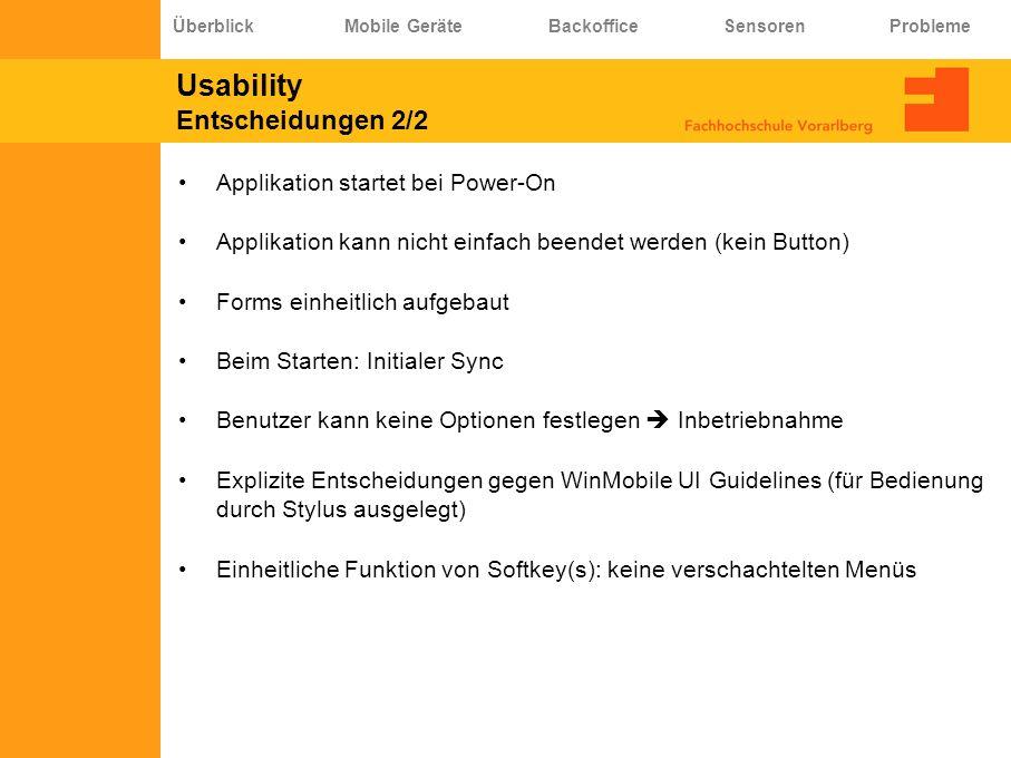 Usability Entscheidungen 2/2