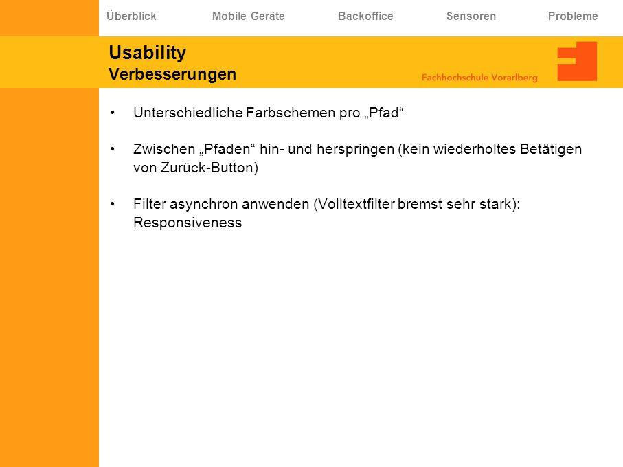 Usability Verbesserungen