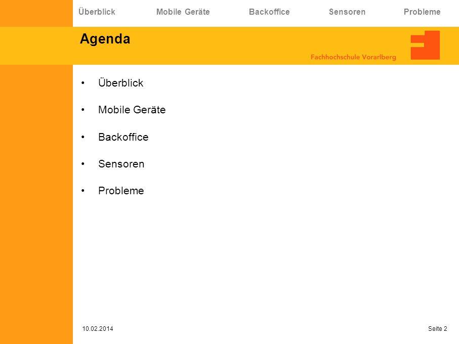 Agenda Überblick Mobile Geräte Backoffice Sensoren Probleme