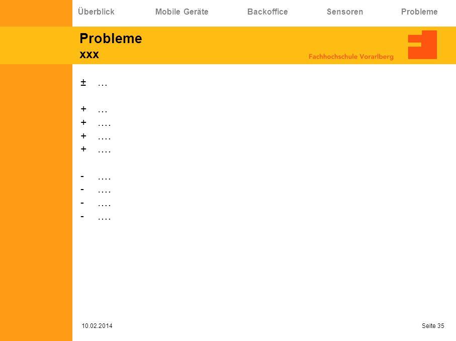 Probleme xxx … …. Überblick Mobile Geräte Backoffice Sensoren Probleme