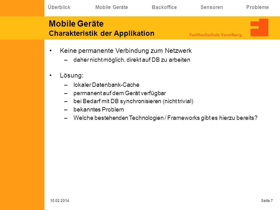 Mobile Geräte Charakteristik der Applikation