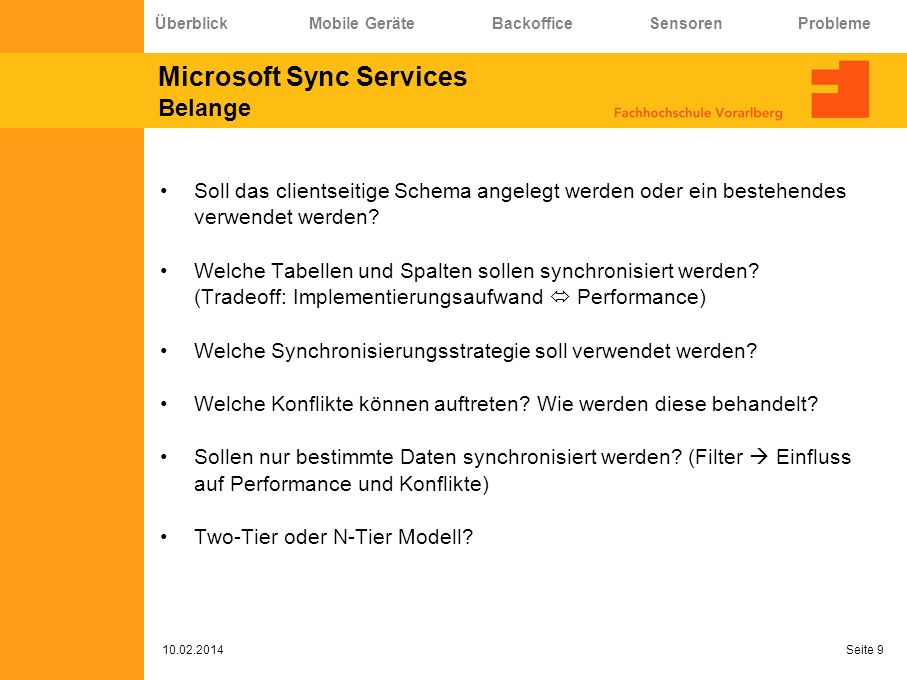 Microsoft Sync Services Belange