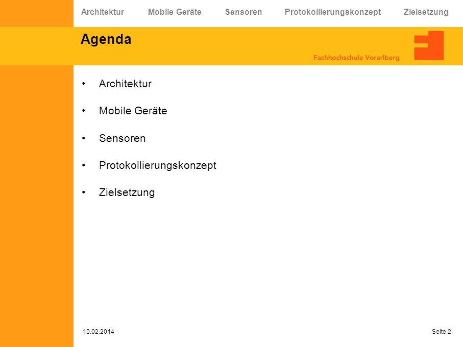 Agenda Architektur Mobile Geräte Sensoren Protokollierungskonzept