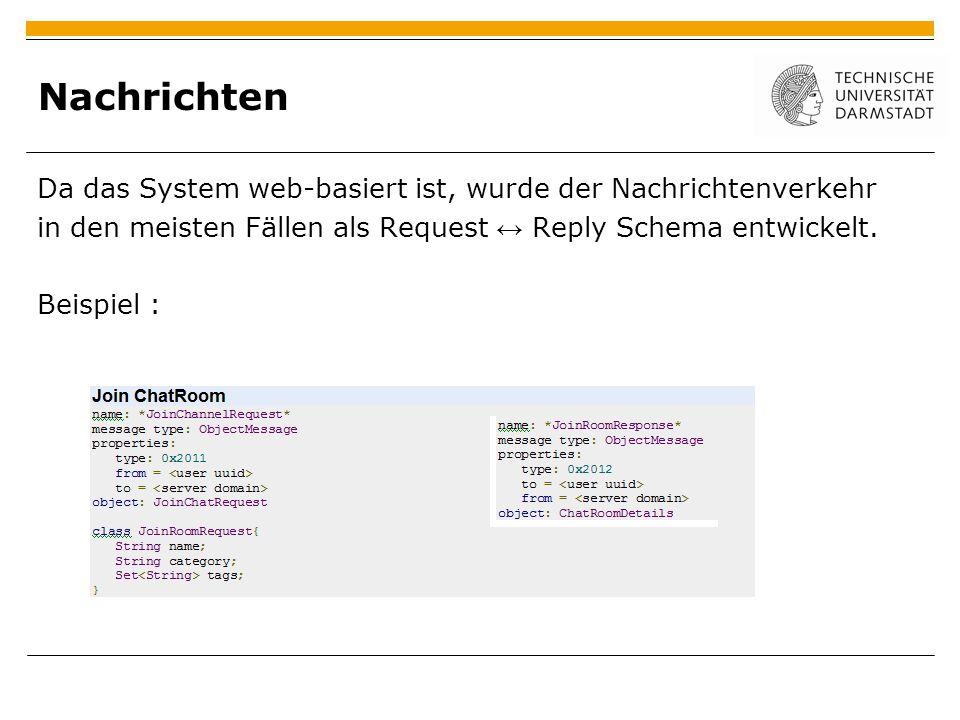 Nachrichten Da das System web-basiert ist, wurde der Nachrichtenverkehr. in den meisten Fällen als Request ↔ Reply Schema entwickelt.