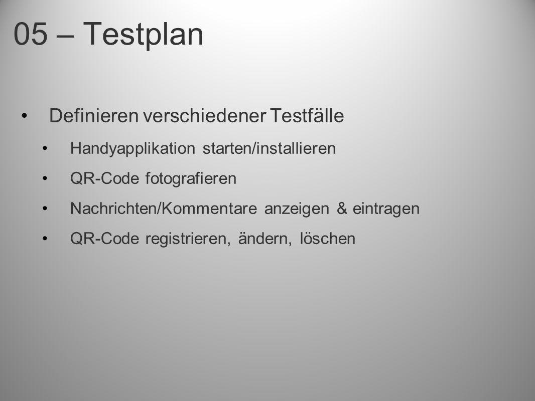 05 – Testplan Definieren verschiedener Testfälle