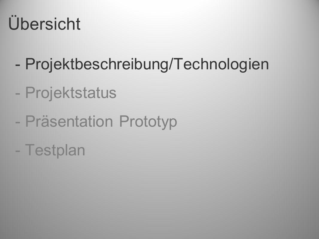 Übersicht - Projektbeschreibung/Technologien - Projektstatus