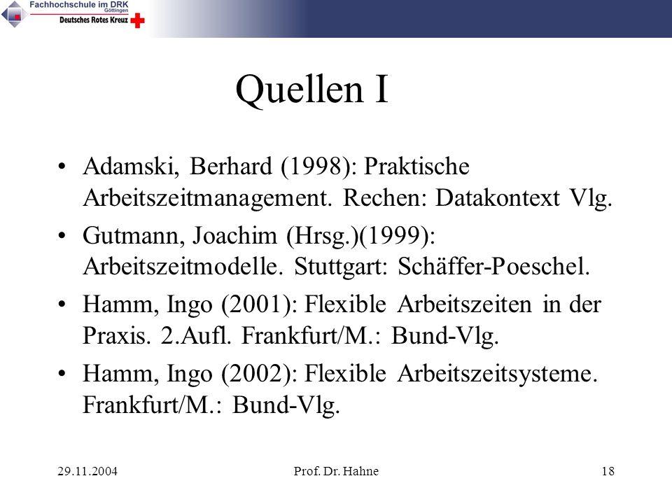 Quellen I Adamski, Berhard (1998): Praktische Arbeitszeitmanagement. Rechen: Datakontext Vlg.