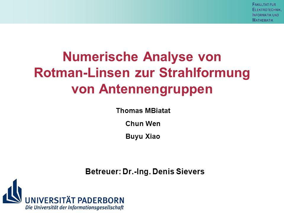 Betreuer: Dr.-Ing. Denis Sievers