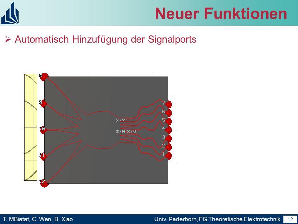 Neuer Funktionen Automatisch Hinzufügung der Signalports