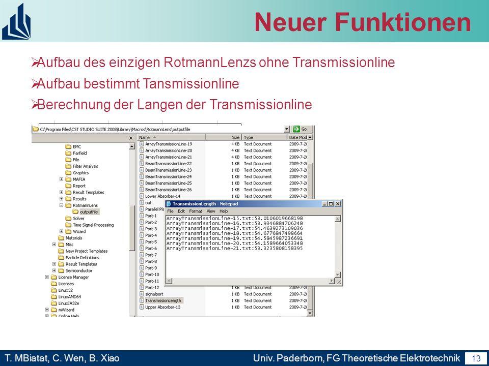 Neuer Funktionen Aufbau des einzigen RotmannLenzs ohne Transmissionline. Aufbau bestimmt Tansmissionline.