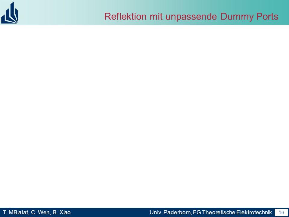 Reflektion mit unpassende Dummy Ports