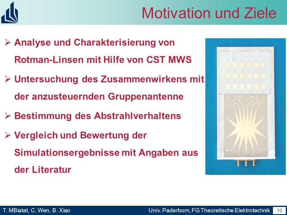 Motivation und ZieleAnalyse und Charakterisierung von Rotman-Linsen mit Hilfe von CST MWS.