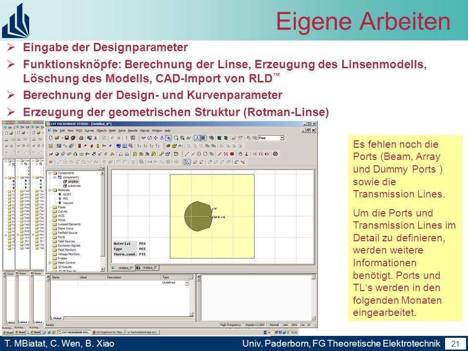 Eigene Arbeiten Eingabe der Designparameter