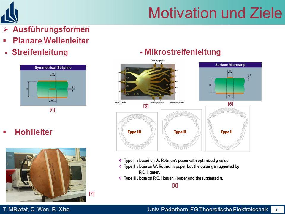Motivation und Ziele Ausführungsformen Planare Wellenleiter