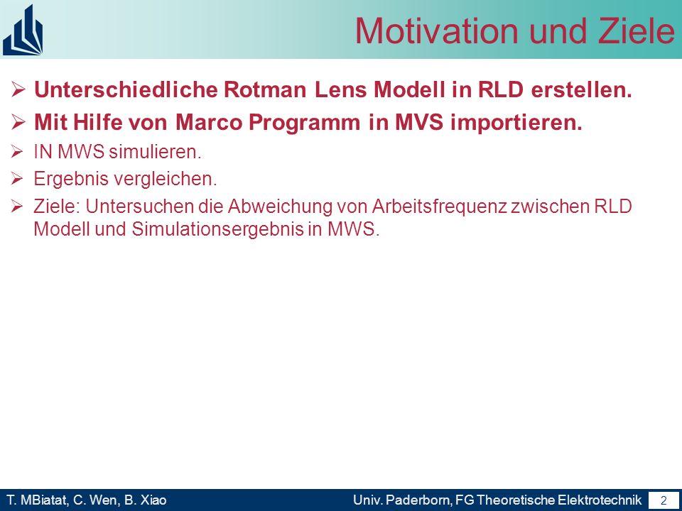 Motivation und Ziele Unterschiedliche Rotman Lens Modell in RLD erstellen. Mit Hilfe von Marco Programm in MVS importieren.