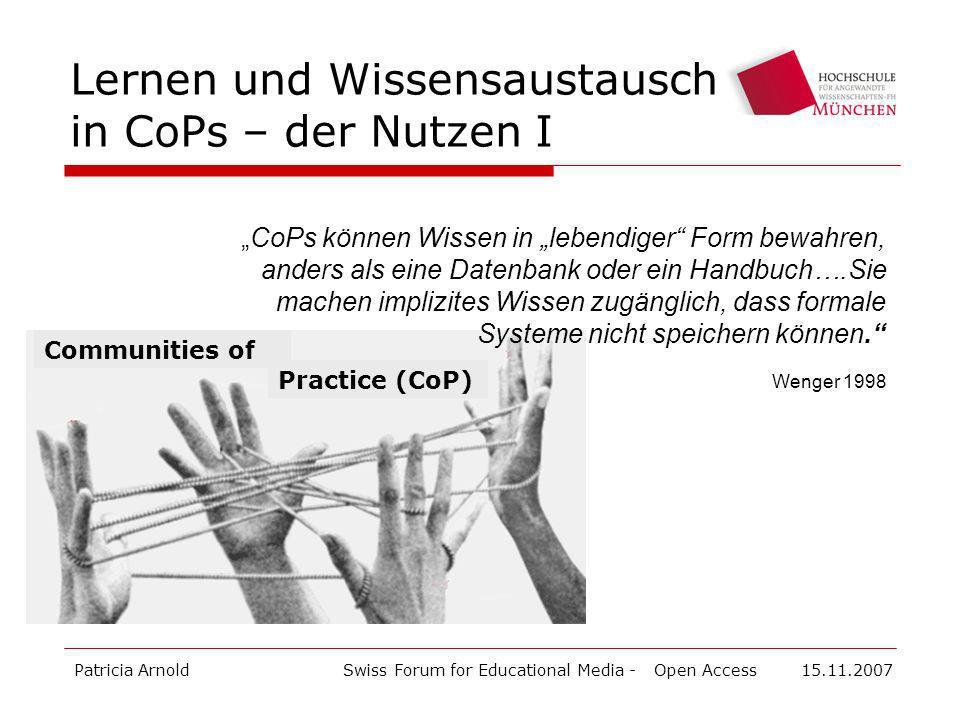 Lernen und Wissensaustausch in CoPs – der Nutzen I