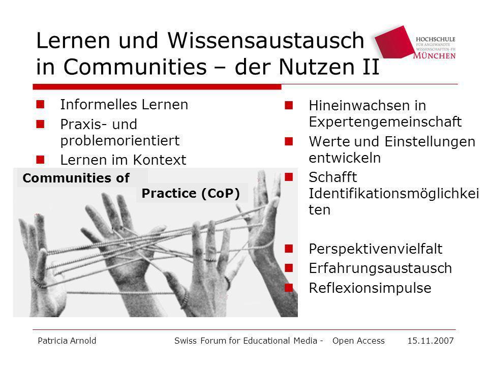 Lernen und Wissensaustausch in Communities – der Nutzen II