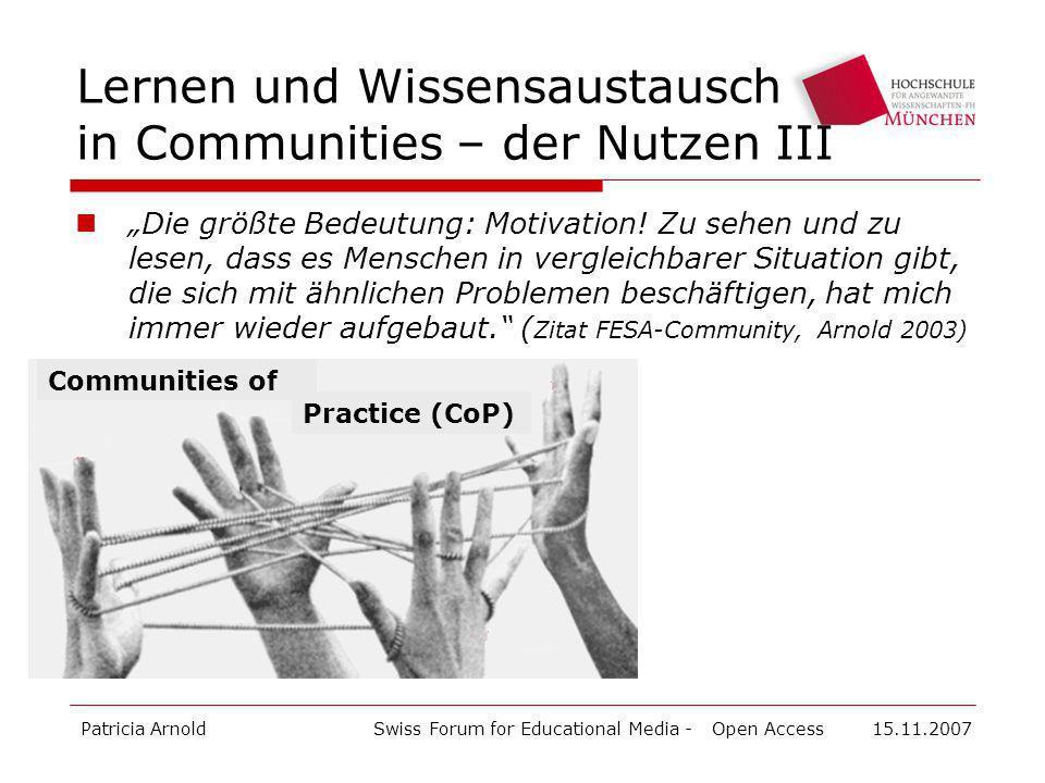 Lernen und Wissensaustausch in Communities – der Nutzen III