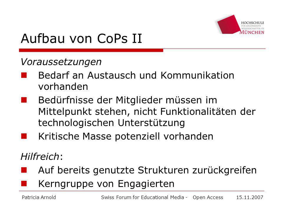 Aufbau von CoPs II Voraussetzungen