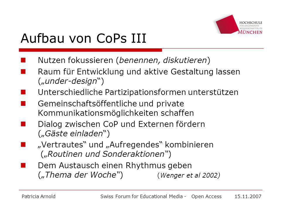 Aufbau von CoPs III Nutzen fokussieren (benennen, diskutieren)
