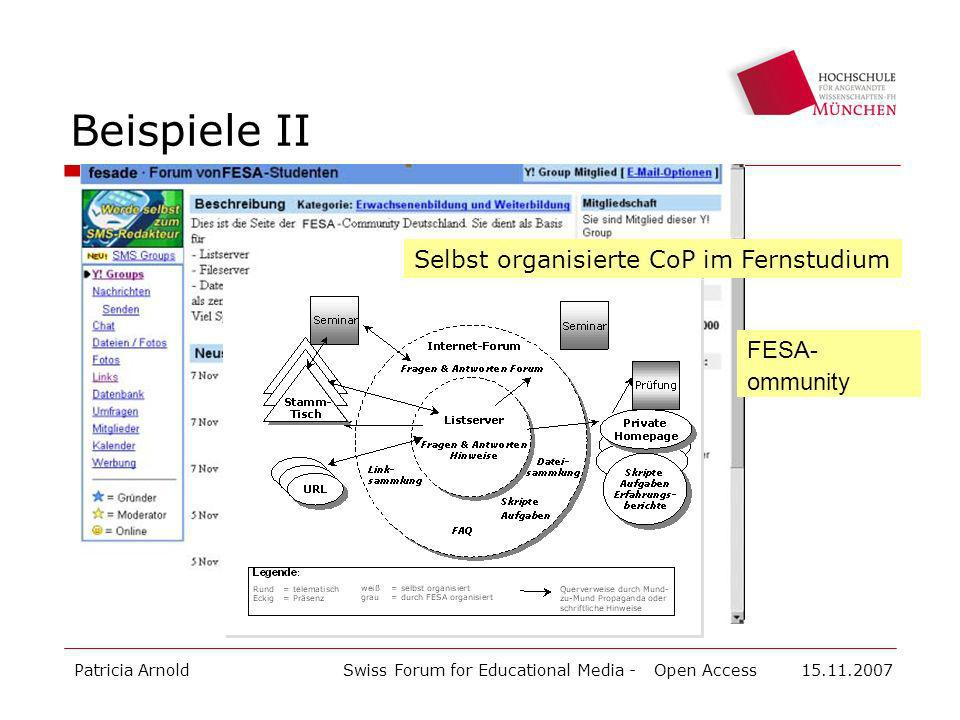 Beispiele II Selbst organisierte CoP im Fernstudium FESA-ommunity