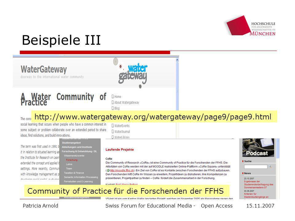 Beispiele III http://www.watergateway.org/watergateway/page9/page9.html. Community of Practice für die Forschenden der FFHS.