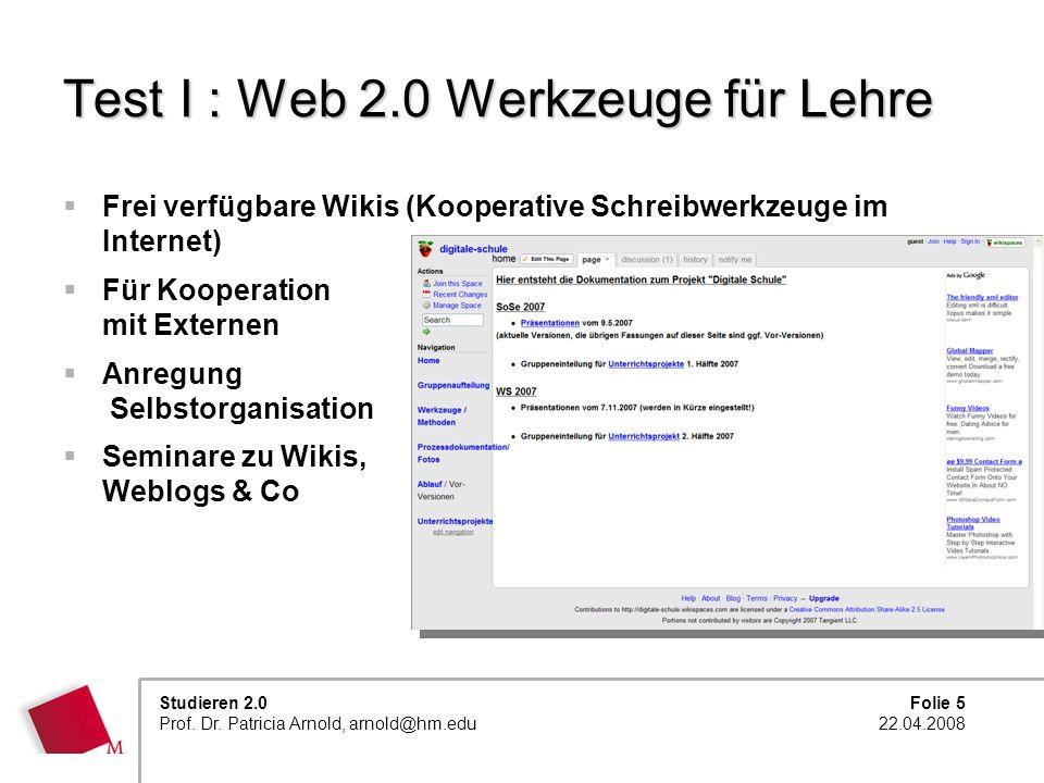 Test I : Web 2.0 Werkzeuge für Lehre