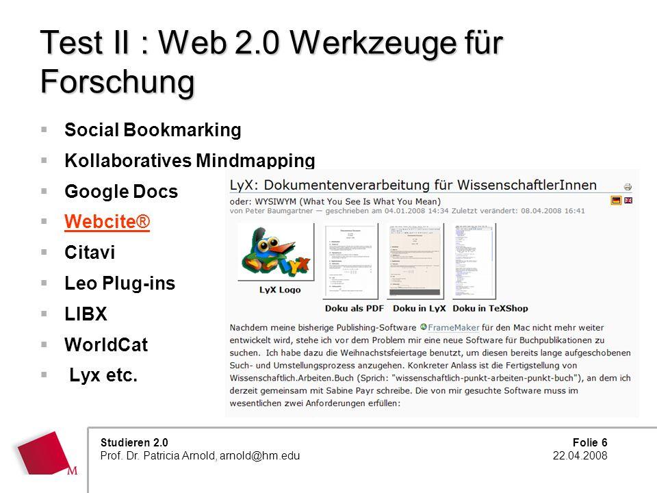 Test II : Web 2.0 Werkzeuge für Forschung