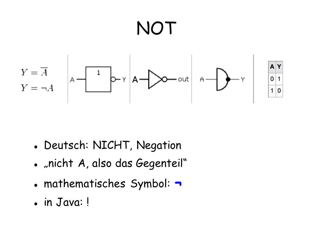 """NOT Deutsch: NICHT, Negation """"nicht A, also das Gegenteil"""