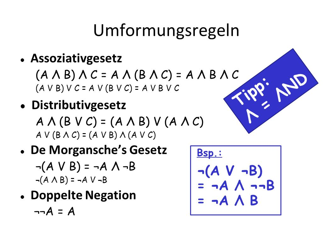 Umformungsregeln Tipp: Λ = ΛND Distributivgesetz Assoziativgesetz