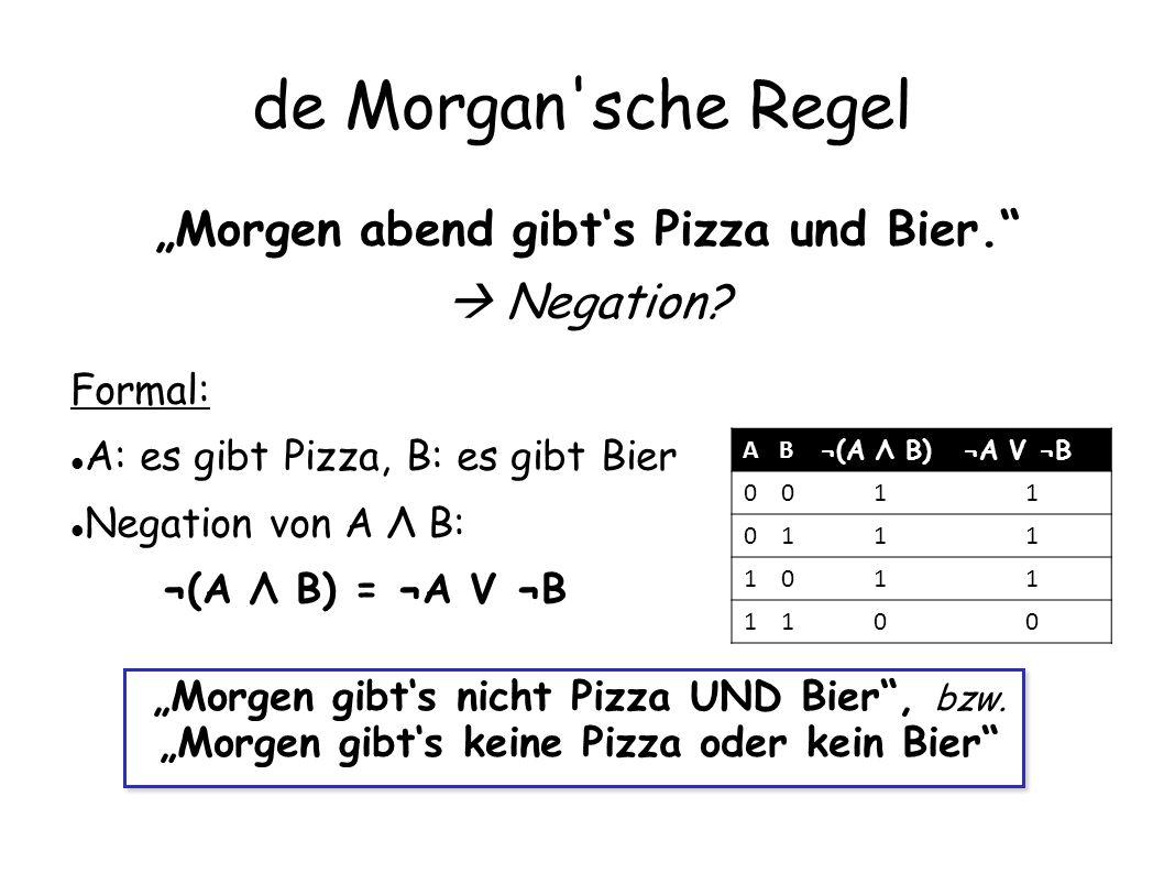 """de Morgan sche Regel """"Morgen abend gibt's Pizza und Bier.  Negation"""