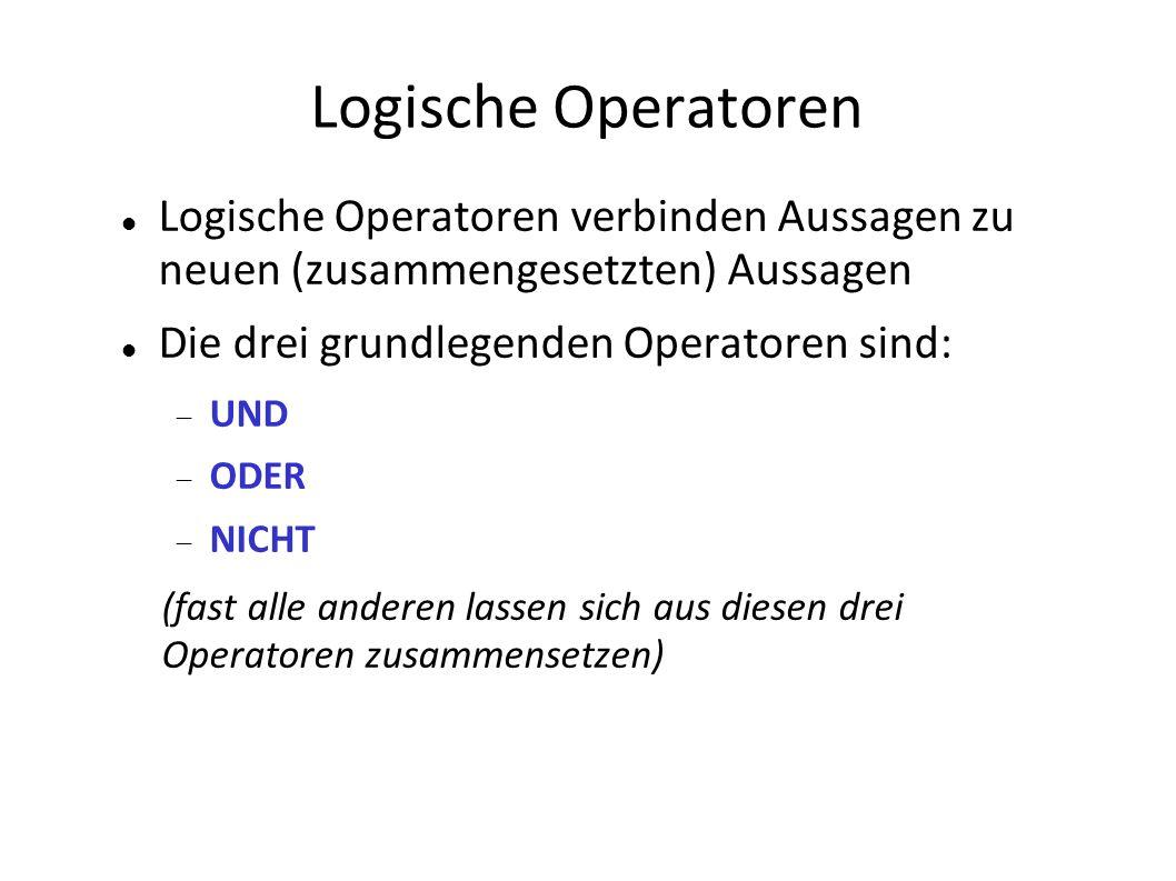 Logische Operatoren Logische Operatoren verbinden Aussagen zu neuen (zusammengesetzten) Aussagen. Die drei grundlegenden Operatoren sind: