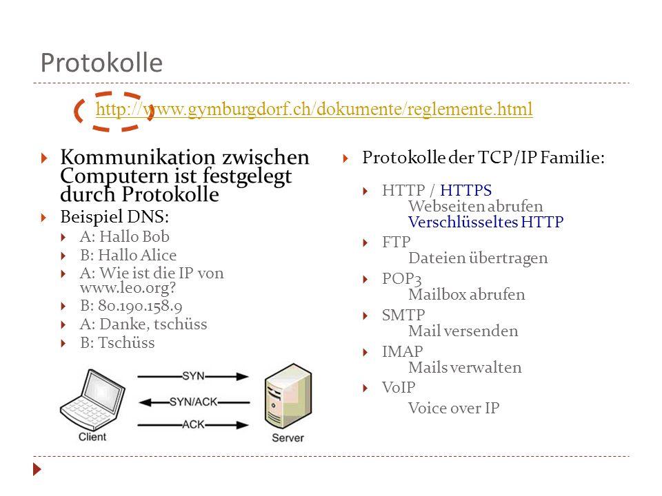 Protokolle http://www.gymburgdorf.ch/dokumente/reglemente.html. Kommunikation zwischen Computern ist festgelegt durch Protokolle.