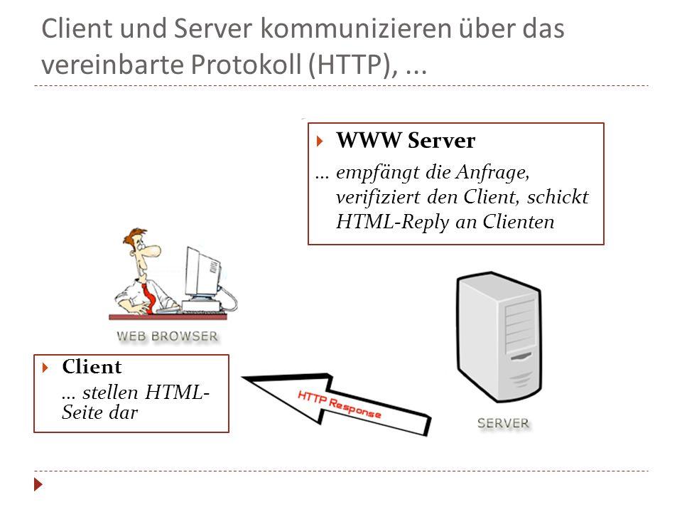 Client und Server kommunizieren über das vereinbarte Protokoll (HTTP), ...