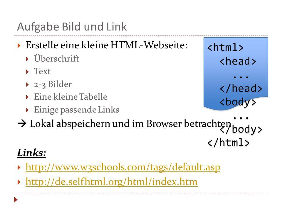 Aufgabe Bild und Link <html> <head> ... </head>