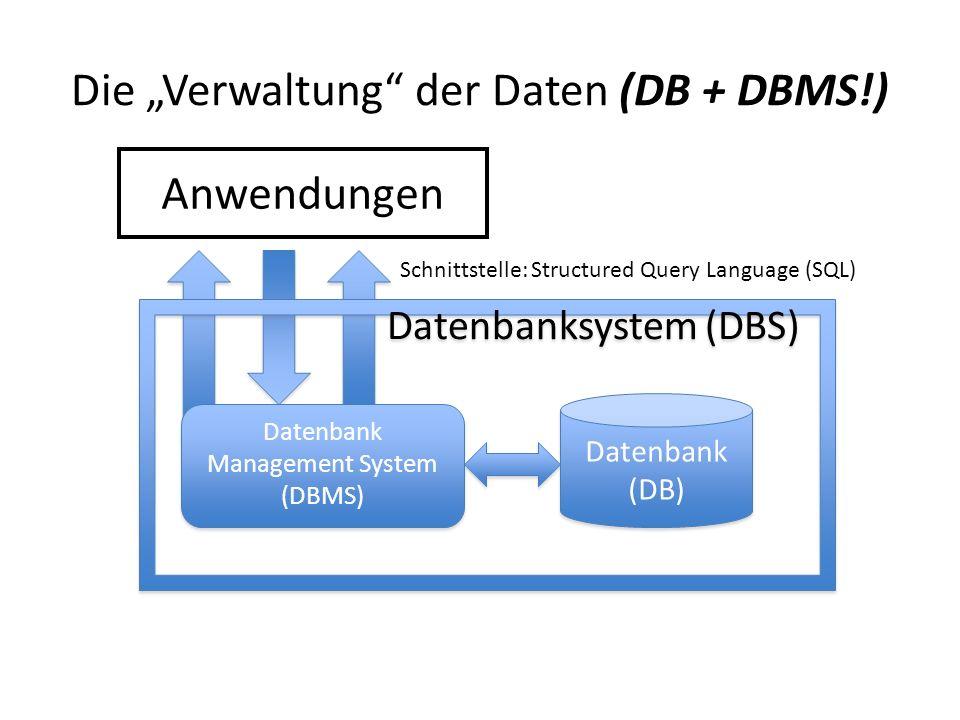 """Die """"Verwaltung der Daten (DB + DBMS!)"""