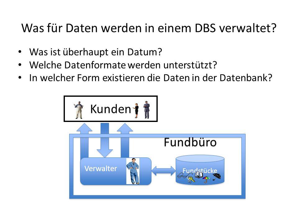 Was für Daten werden in einem DBS verwaltet
