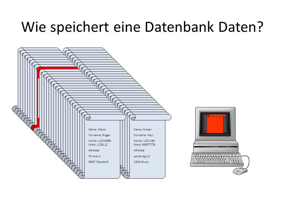 Wie speichert eine Datenbank Daten